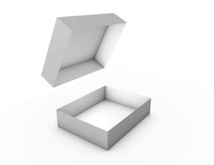 Opened empty product box isolated on white background.