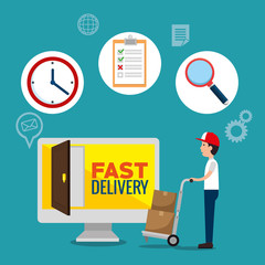delivery service concept with computer monitor vector illustration design