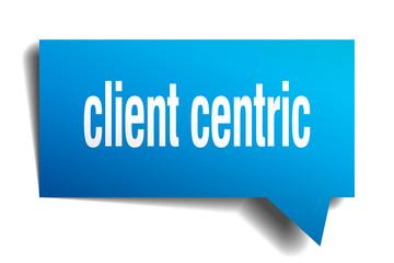 client centric blue 3d speech bubble