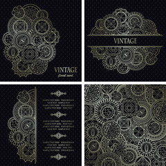 Set of vector vintage cards with round vintage elements. Beautiful design
