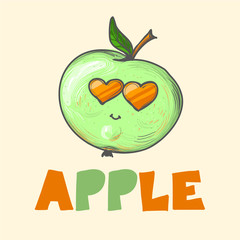 Cool cartoon fashion apple with sunglasses and leaves and word apple vector illustration