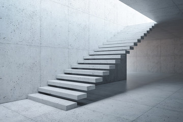 modern staircase in concrete interior