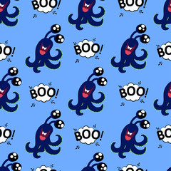 Abstract seamless halloween pattern for girls or boys. Creative vector background with cute monster with tentacles and eyes, halloween. Funny halloween pattern for textile and fabric. Fashion style.