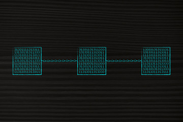 blockchain made of cube of binary code data and chains