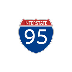 USA traffic road signs. interstate route sign. vector illustration