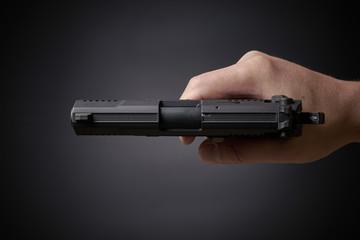 aiming handgun top view