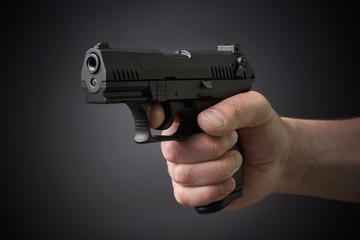 aiming handgun
