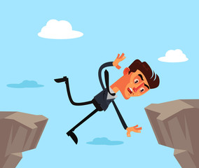 Unfortunate businessman office worker character jump and fall down. Financial business crisis problems concept isolated flat cartoon graphic design illustration