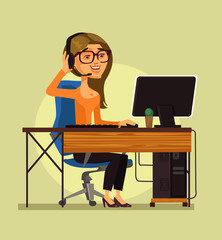 Happy smiling call center operator woman character talking phone and giving consultation. Hot line online support concept isolated flat cartoon graphic design illustration