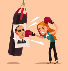 Angry woman office worker character beat photo boss ex husband colleague. Employee relationship discrimination problems concept isolated flat cartoon graphic design illustration