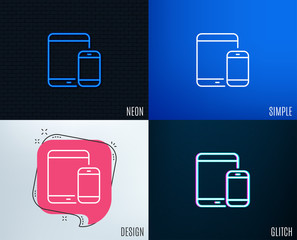 Glitch, Neon effect. Mobile Devices icon. Smartphone and Tablet PC signs. Touchscreen gadget symbols. Trendy flat geometric designs. Vector