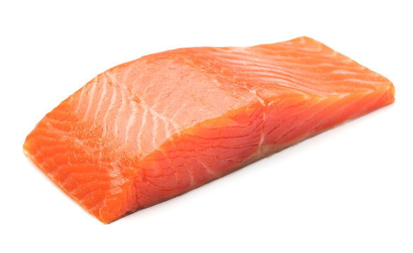 piece of salmon fillet isolated on white background