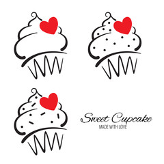 Set of Cupcake Logo with red heart and text on the white background. Vector illustration