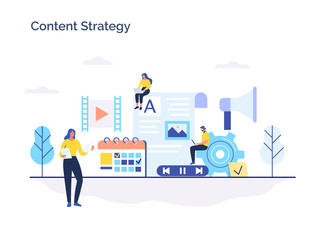 Engaging content, blogging, media planning, promotion in social network flat vector concept.