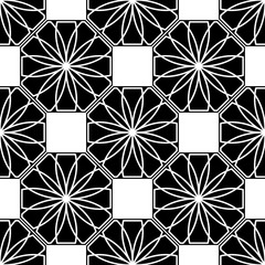 Vector. Abstract white flowers on a black tiles. Seamless pattern vector illustration. Black and white