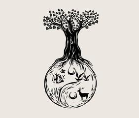 Ying Yang Tree, art vector design