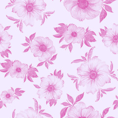 Beautiful semitransparent pink flowers with leaves on light pink background. Seamless floral pattern. Hand drawn illustration.