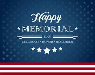 Happy Memorial Day background with text - Celebrate, Honor, Remember - vector illustration