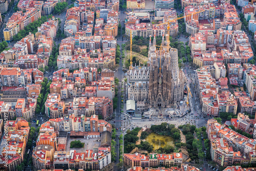 Barcelona Aerial View Eixample Residencial District And Sagrada