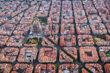 Tuinposter Barcelona Aerial view of Barcelona Eixample residencial district and Sagrada familia, Spain. Late afternoon light