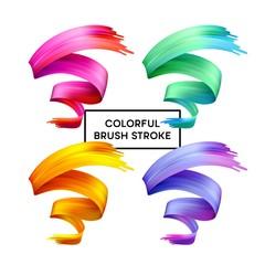 Set abstract colorful wave flow design elements. Vector illustration
