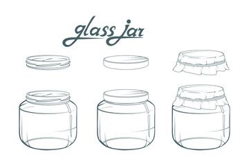 Glass jar. Jar hand drawn. Lettering of glass jar. Vector artwork.