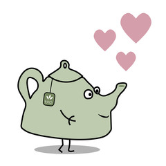 Cartoon flat vector teapot