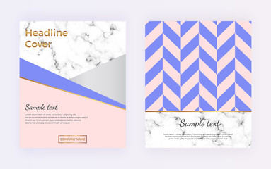 Cover brochure with geometric shapes design, marble stone texture and golden lines. Template for magazine, flyer, presentation, portfolio, poster, card, invitation, party, banner, wedding, placard.