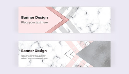 Geometric web banners with triangles, foil and marble texture. Modern luxury and fashion design with lines. Horizontal template for business, card, flyer, invitation, social media, wedding, invite
