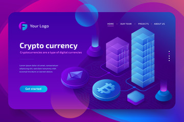 Blockchain and cryptocurrency growth chart, bitcoin course. 3d isometric vector illustration on ultraviolet background