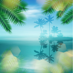 Sea with island and palm trees and light on lens. EPS10 vector.