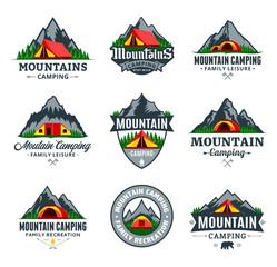 Set of vector mountain camping logo