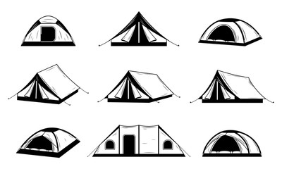Vector black and white camping tent icons