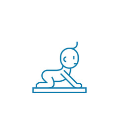 Getting on all fours line icon, vector illustration. Getting on all fours linear concept sign.