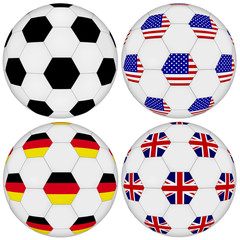 Football set on white isolated background. Classic ball and United States of America, United Kingdom, Germany patterned by flags.