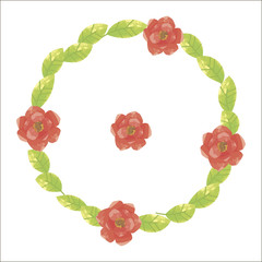 green round wreath from sunny fresh leaves with saturated red flowers with yellow mid-poppies isolated on white background in vector picture
