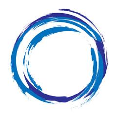 Hand drawn acrylic element, light blue round stroke.