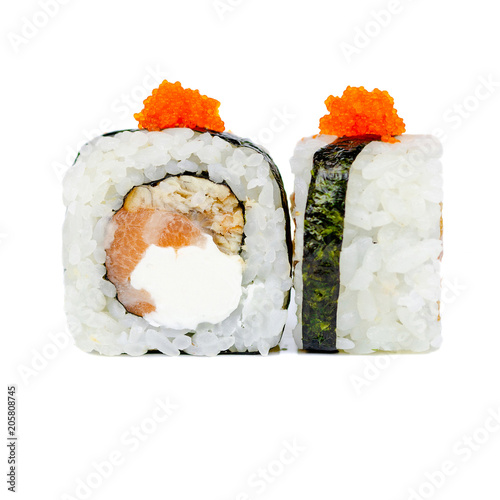 Traditional Fresh Japanese Sushi Rolls Isolated On A White