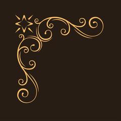 Ornamental decorative corner. Filigree frame. Antique swirl page decoration. Vintage style. Scroll elegance design element. Vector.