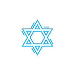 Jewish symbol line icon, vector illustration. Jewish symbol linear concept sign.