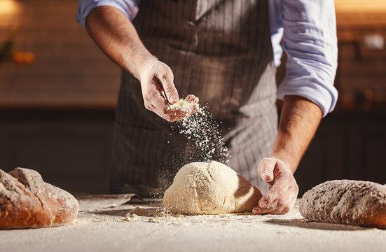 Hands of baker kneading dough