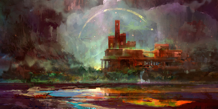 painted in bright fantasy landscape with castle
