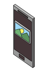 smartphone photo gallery isometric design vector illustration