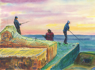 Fishermen on a breakwater. A scene of sea fishing from the shore. Colorful seascape. Multicolored clouds, calm sea.Watercolor painting on paper.