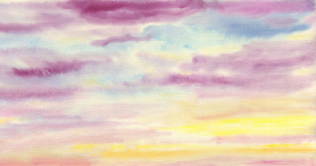 Solid hand drawn artistic background. Colorful clouds. The sky is at sunset. Watercolor painting on paper.