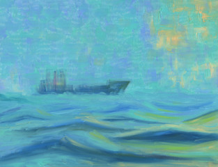 Cargo ship floating on the sea. Fog. A storm with large waves. The sun can be seen behind the clouds. Oil painting.