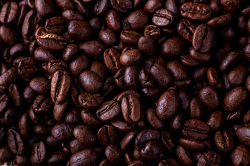 Dark Raosted coffee beans top view flat lay