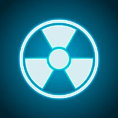 hazard, radiation. simple silhouette. Neon style. Light decoration icon. Bright electric symbol