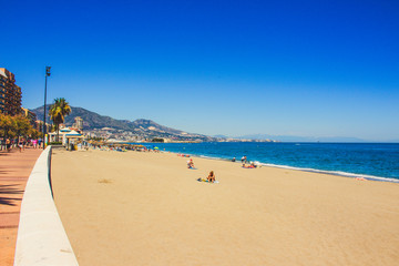 Beach. A sunny day on the beach of Fuengirola. Malaga province, Andalusia, Spain. Picture taken – 15 may 2018.