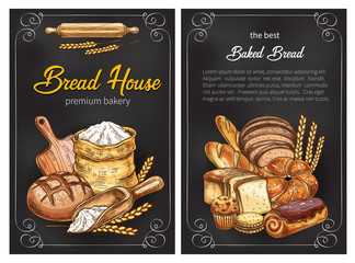 Vector bread sketch posters for premium bakery
